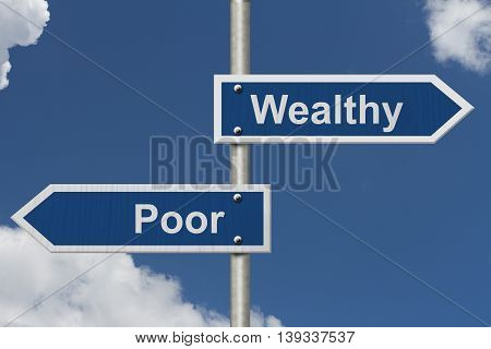 Being Wealthy versus Being Poor Two Blue Road Sign with text Wealthy and Poor with sky background, 3D Illustration