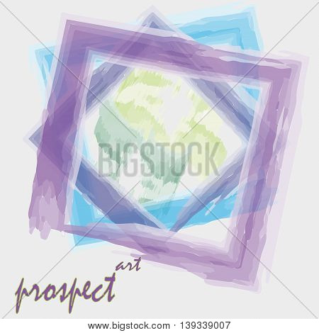 Drawing prospect vector art watercolor style Vector illustration on a light background Art watercolor style prospect, three square frame