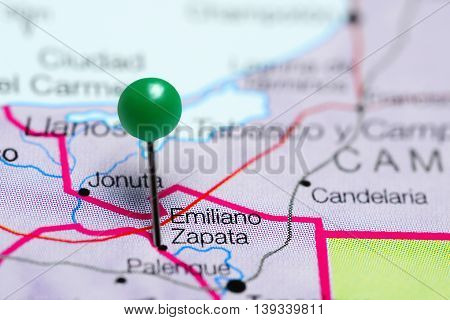 Emiliano Zapata pinned on a map of Mexico