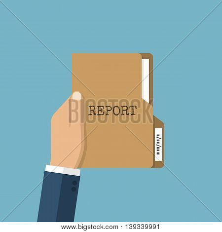 Paper folder in hands of businessman. Folder with the report documents. Vector illustration of a flat design. Management and planning concept.