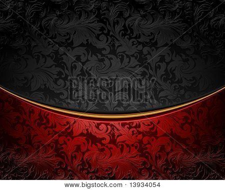 Enfeite vintage vermelho e preto, vetor