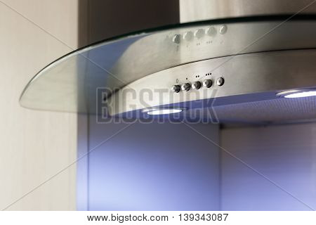 Closeup of Convenient operation kitchen hood with toggle modes
