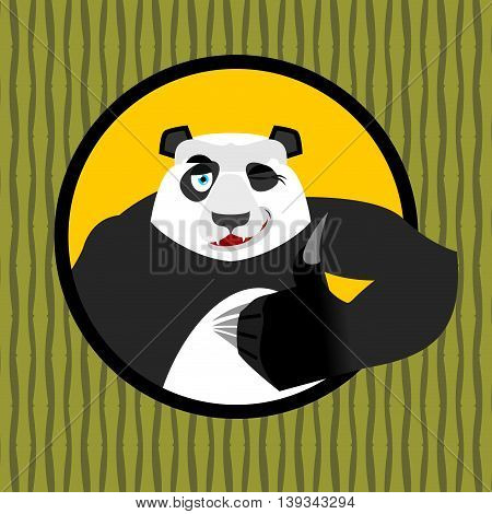 Panda Thumb Up And Winks. Chinese Bear All Good. Signs All Right. Hand Showing Ok. Gesture Of Hand.