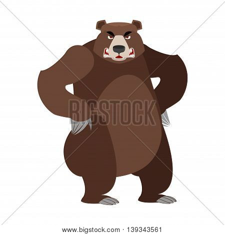 Angry Bear On Its Hind Legs. Aggressive Grizzly On White Background. Wild Evil Animal. Large Ferocio