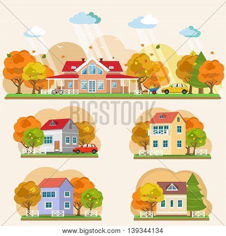 Set of flat style autumn landscapes. Vector illustration