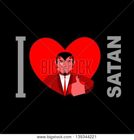 I Love Satan. Symbol Of Heart And Devil With Horns. Red Demon. Prince Of Darkness And Underworld. Lu