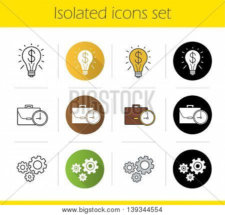 Business concepts icons set. Flat design, linear, black and color styles. Successful idea and work time symbols, cogwheels. Isolated vector illustrations