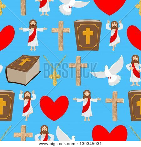 Holy Background. Biblical Seamless Pattern. Jesus And Bible. Cross And White Dove. Religious Sign Fo