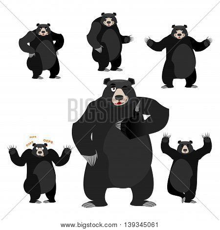 Baribal American Black Bear Set. Grizzly Various Poses. Expression Of Emotions. Wild Animal Yoga. Ev