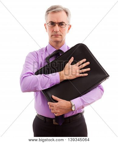 Business man holding and protect briefcase, close up