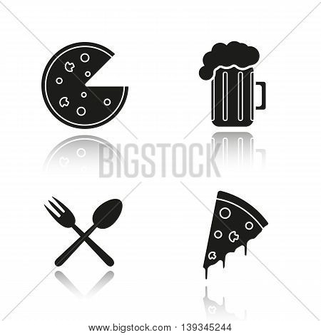 Pizzeria drop shadow black icons set. Pizza slice, foamy beer glass, eatery fork and spoon symbol. Isolated vector illustrations
