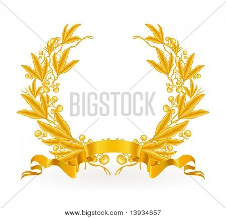 Gold Laurel Wreath, vector