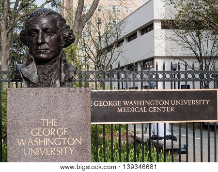 Entry signage to The George Washington University