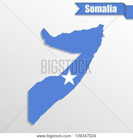 Somalia map with flag inside and ribbon