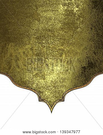 Grunge Shabby Gold On White Background. Template For Design. Copy Space For Ad Brochure Or Announcem