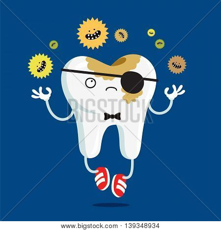 Sad tooth affected by caries. Vector illustration on a blue background. Concept of children's dentistry. Excellent dental card. Cute character. Caries prevention.