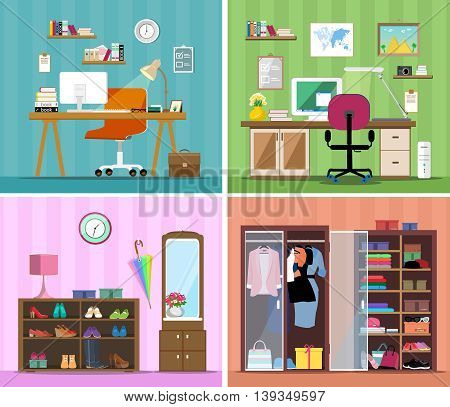 Set of colorful vector interior design house rooms with furniture icons: working place with computer, modern home office, wardrobe with clothes and shoes and corridor. Flat style vector illustration.