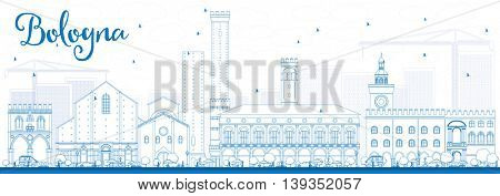 Outline Bologna Skyline with Blue Landmarks. Vector Illustration. Business Travel and Tourism Concept with Historic Buildings. Image for Presentation Banner Placard and Web Site.