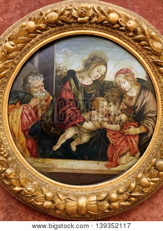 ZAGREB, CROATIA - DECEMBER 08: Workshop Filippino Lippi: St. Family with St. John and Elizabeth, Old Masters Collection, Croatian Academy of Sciences, December 08, 2014 in Zagreb, Croatia