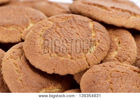 closeup of a pile of appetizing galletas campurrianas, typical cookies of Spain