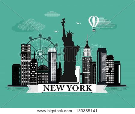 Cool graphic New York city skyline poster with retro looking detailed design elements. NY landscape with landmarks.