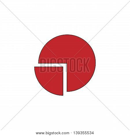 Pie chart. Red flat simple modern illustration icon with stroke. Collection concept vector pictogram for infographic project and logo