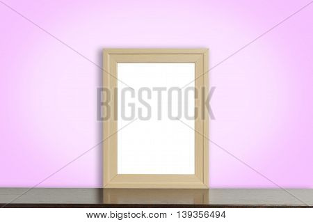 Wooden Picture frame on pinky style wall