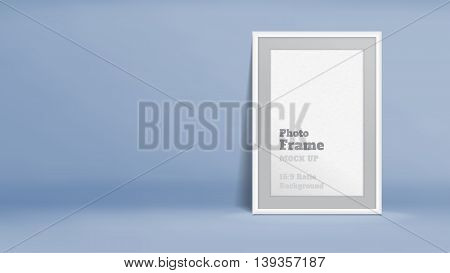 Vector, Blank Photo Frame In Pastel Blue Studio Room, Template Mock Up For Display Or Montage Of You