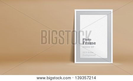 Vector, Blank Photo Frame In Pastel Brown Studio Room, Template Mock Up For Display Or Montage Of Yo