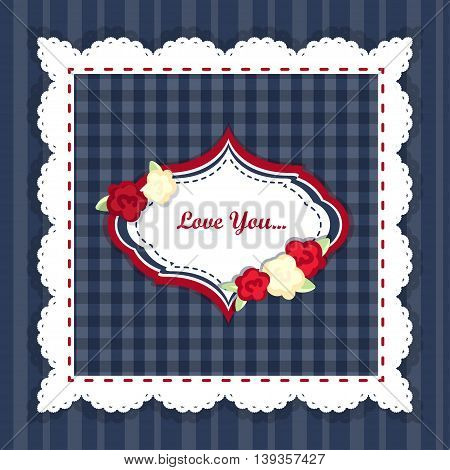shabby chic. provence style. invitation or congratulation card. floral frame. red blue yellow
