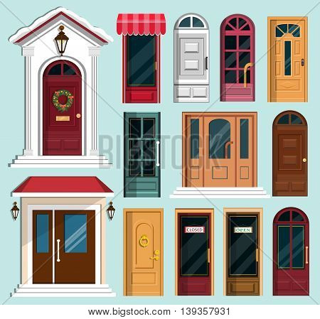 Set of detailed colorful front doors to private houses and buildings. Door with Christmas wreath. Flat style vector illustration.