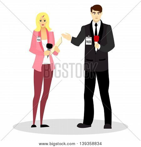 Journalists and correspondents with a microphone in their hands and in business suits. Occupation journalist or correspondent. Vector illustration.