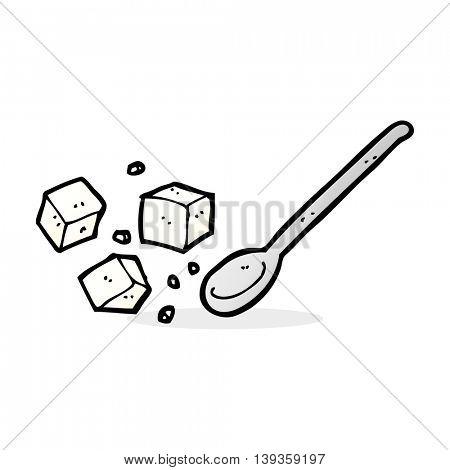 cartoon sugar lumps and spoon