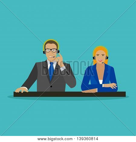 Male and female operators in call center concept vector banner. Customer service and support company office. People work in call center. Man and woman with headset.