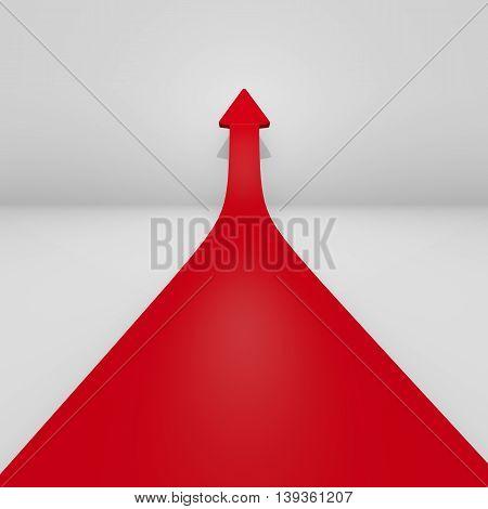 Raising red arrow in a room 3d rendering upswing concept