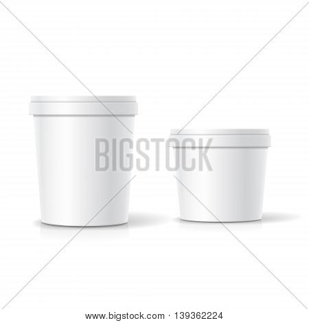 Vector set of blank plastic bucket container packaging isolated on white background