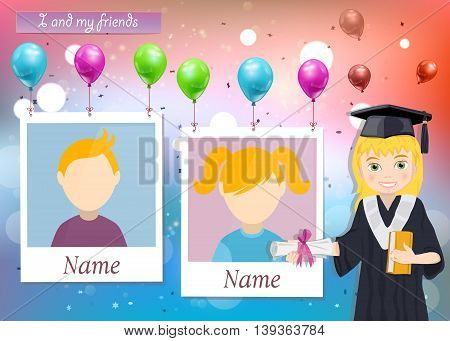 Yearbook for school with graduate girl and two photos vector