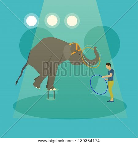 Circus concept vector banner. Acrobats and artists perform show in arena. Animals show and performance poster.