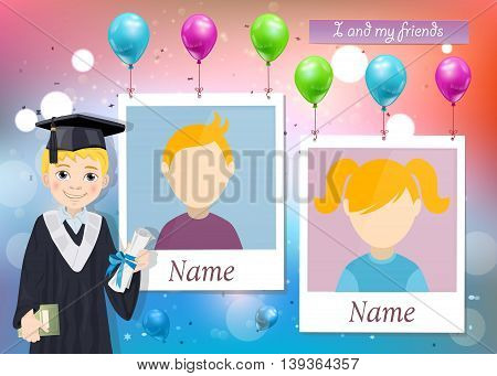 Yearbook for school with graduate boy and two photos vector