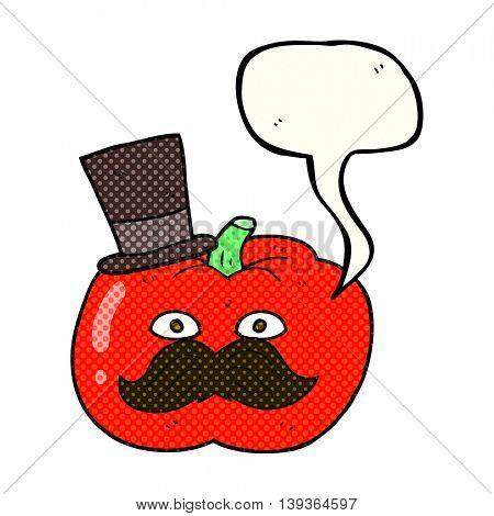 freehand drawn comic book speech bubble cartoon posh tomato