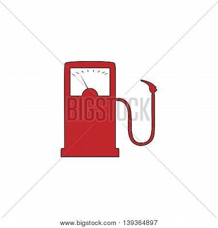 Gas station. Red flat simple modern illustration icon with stroke. Collection concept vector pictogram for infographic project and logo