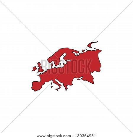 Eurasia map. Red flat simple modern illustration icon with stroke. Collection concept vector pictogram for infographic project and logo