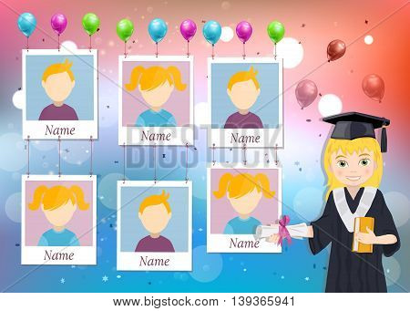 Yearbook for school with graduate girl and six photos vector