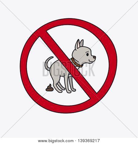 No dog pooping information sign. Vector illustration