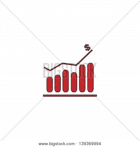 Graph. Red flat simple modern illustration icon with stroke. Collection concept vector pictogram for infographic project and logo