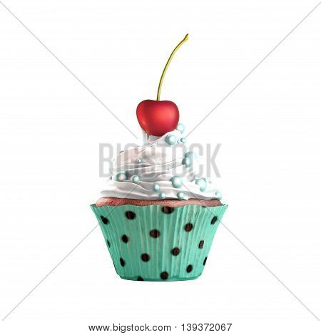 Isolated cupcake with cream cherry and candies. 3D Rendering