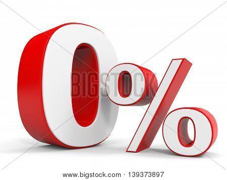 Discount 0 percent off sale. 3D illustration.