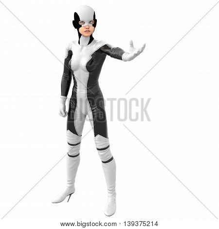one teenage girl in a white dark super suit. Stands in a pose half-turned to face the camera. She put the left hand in the waiting. 3D rendering, 3D illustration
