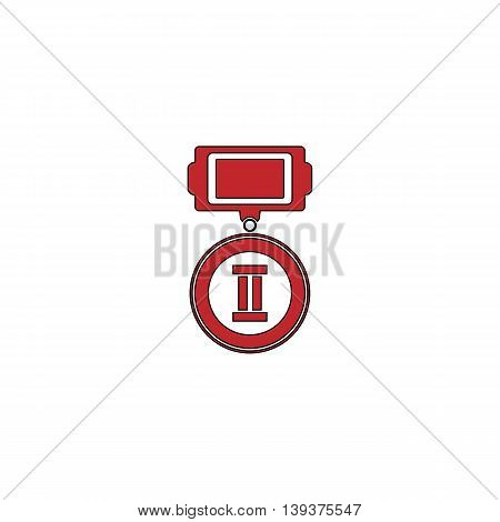 Medals 2 places. Red flat simple modern illustration icon with stroke. Collection concept vector pictogram for infographic project and logo