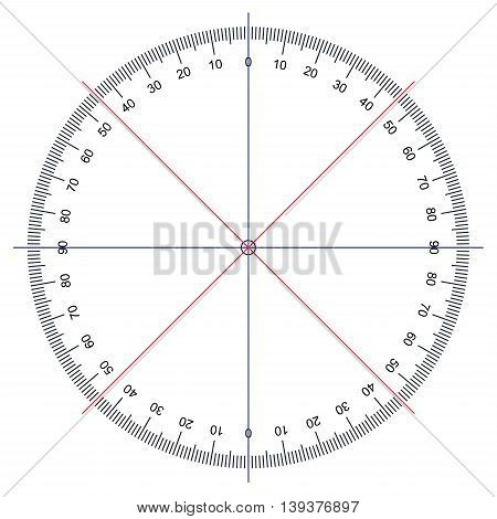 image of Protractor - Actual Size Graduation isolated on white